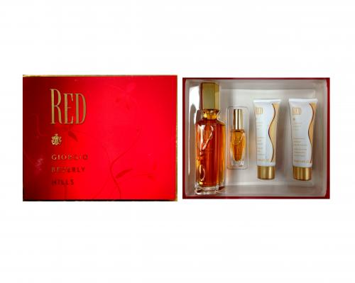 GIORGIO RED 4 PCS SET: 3 OZ EDT SP + 10 ML EDT SP + 1.6 B/L + 1.6 S/G
