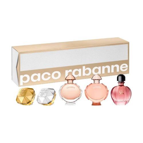 PACO RABANNE 5 PCS MINI SET FOR WOMEN: LADY MILLION 5 ML EAU DE PARFUM + LADY MILLION LUCKY 5 ML EAU DE PARFUM + OLYMPEA 6 ML EAU DE PARFUM + OLYMPEA LEGEND 6 ML EAU DE PARFUM + PURE XS 6 ML EAU DE PARFUM
