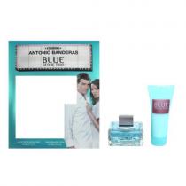 ANTONIO BANDERAS BLUE SEDUCTION 2 PCS SET FOR WOMEN: 2.7 EAU DE TOILETTE SPRAY + 2.5 HIDRA-FRESH BODY LOTION (WINDOW BOX)