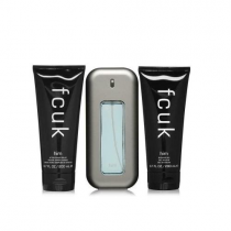 FCUK 3 PCS SET FOR MEN: 3.4 EAU DE TOILETTE SPRAY + 6.7...