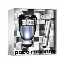 PACO INVICTUS 3 PCS SET FOR MEN: 3.4 EAU DE TOILETTE SPRAY + 0.33 OZ EAU DE TOILETTE + KEYCHAIN