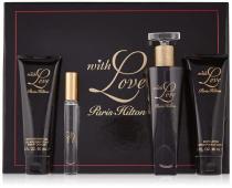 PARIS HILTON WITH LOVE 4 PCS SET: 3.4 EAU DE PARFUM SPRAY + 0.2 PARFUM ROLLBERBALL + 3 OZ BODY LOTION + 3 OZ SHOWER GEL