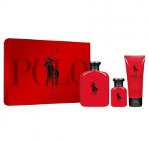 POLO RED 3 PCS SET: 4.2 EAU DE TOILETTE SPRAY + 1.36 EAU DE TOILETTE SPRAY + 3.4 AFTER SHAVE BALM (HARD BOX)
