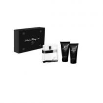 SALVATORE FERRAGAMO F BLACK 3 PCS SET FOR MEN: 3.4 EDT SP