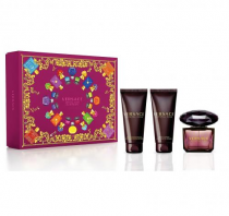 VERSACE CRYSTAL NOIR 3 PCS SET: 1.7 EAU DE TOILETTE SPRAY + 1.7 BODY LOTION + 1.7 BATH AND SHOWER GEL (HARD BOX)
