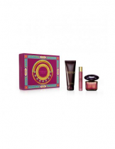 VERSACE CRYSTAL NOIR 3 PCS SET: 3 OZ EAU DE TOILETTE SPRAY + 10 ML EAU DE TOILETTE TRAVEL SPRAY + 5 OZ BODY LOTION (HARD BOX)