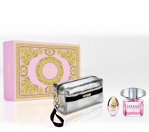 VERSACE BRIGHT CRYSTAL 3 PCS SET: 3 OZ EAU DE TOILETTE SPRAY + 10 ML EAU DE TOILETTE SPRAY + POUCH (HARD BOX)