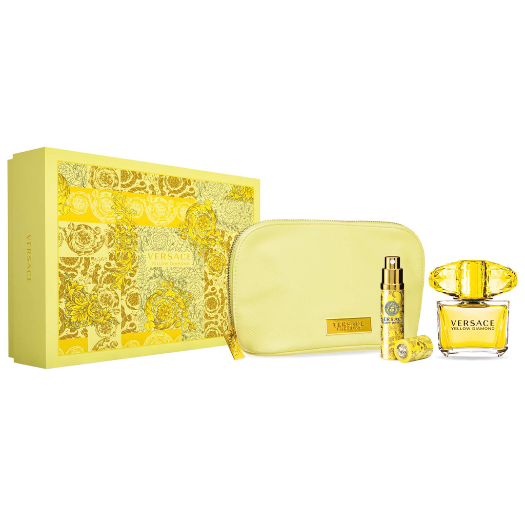 VERSACE YELLOW DIAMOND 3 PCS SET: 3 OZ EDT SP + 10 ML EDT SP + POUCH